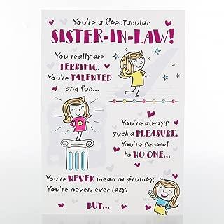 Sister in Law - Hallmark Humour Poem Birthday Card 'Slightly Crazy' - Medium