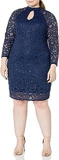 Marina Women's Size Plus Mock Neck Lace Dress