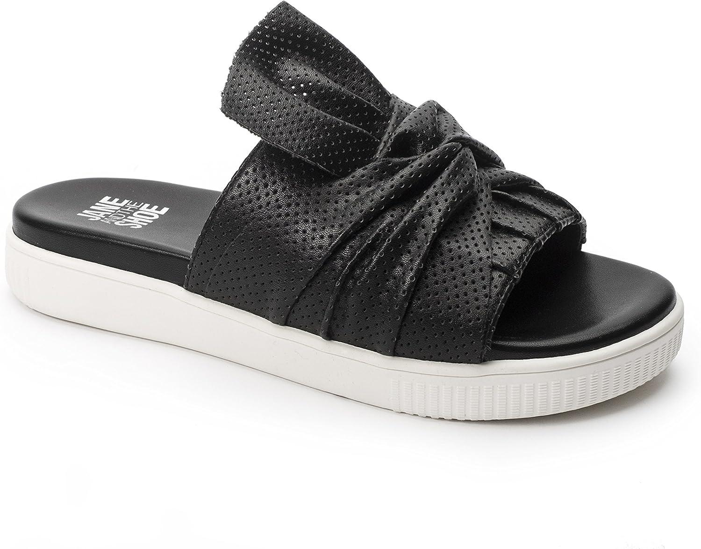 Jane and the Shoe Jessica Bow Slide Sandal Black Leather Mule Flat (9)