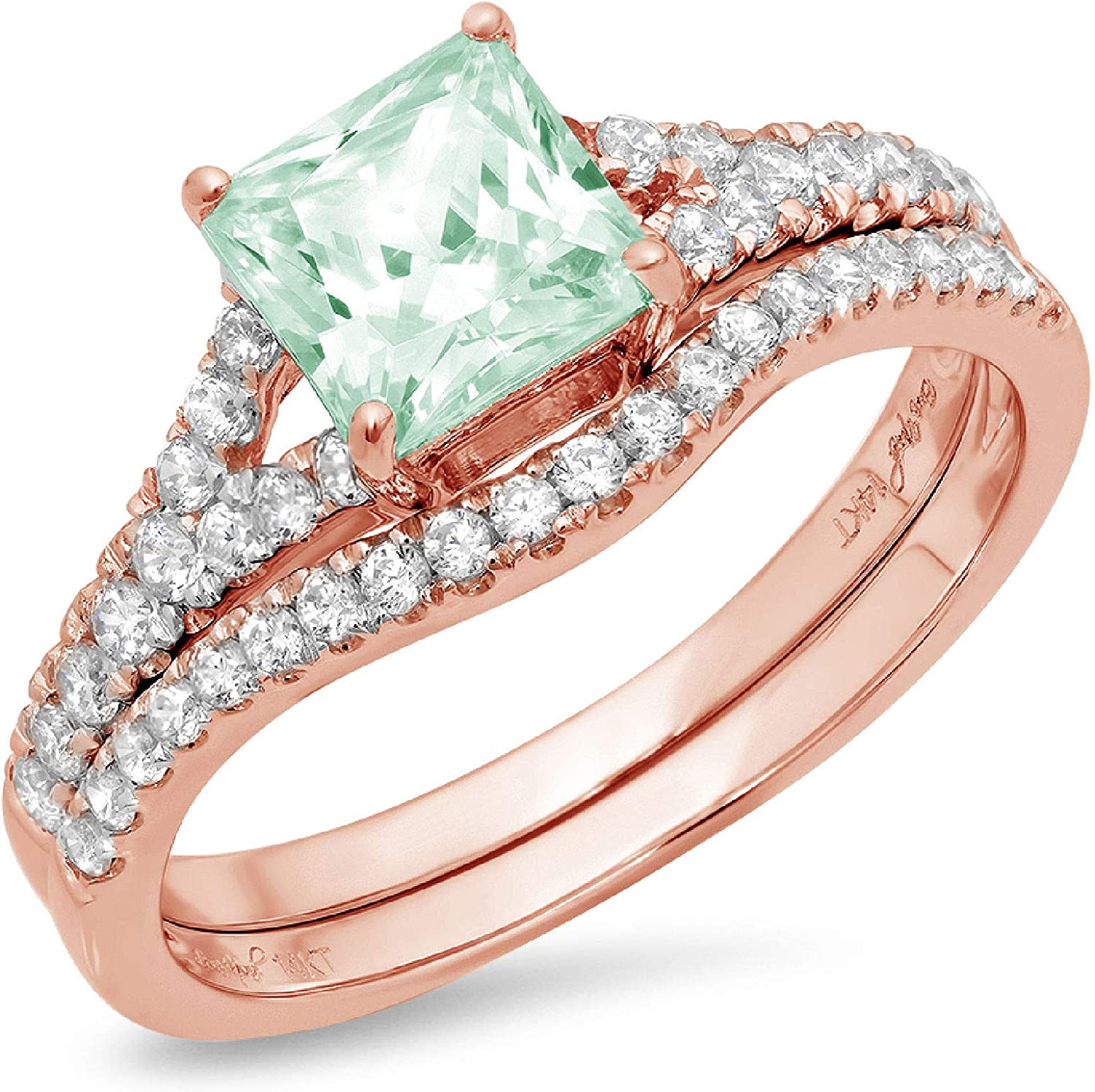 Clara Pucci 2.01ct Princess Cut Accent Ranking TOP19 Factory outlet Pave Solitaire Genuine Fl
