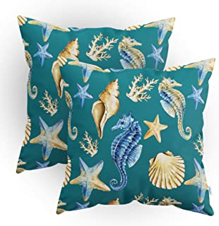 CaliTime Throw Pillow Cases Pack of 2 Cozy Seahorse Conch Shell Coral Starfish Print Cushion Covers for Couch Bed Sofa Far...