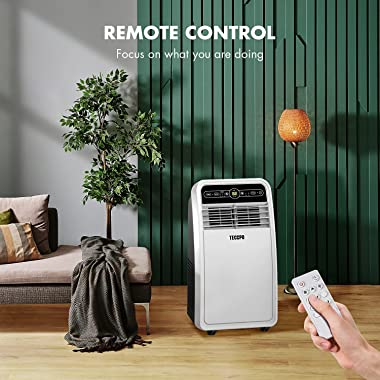 TECCPO Portable Air Conditioner TAK04C, 8000 BTU Portable AC for Rooms up to 200 Sq.Ft, 3-in-1 with Remote Control