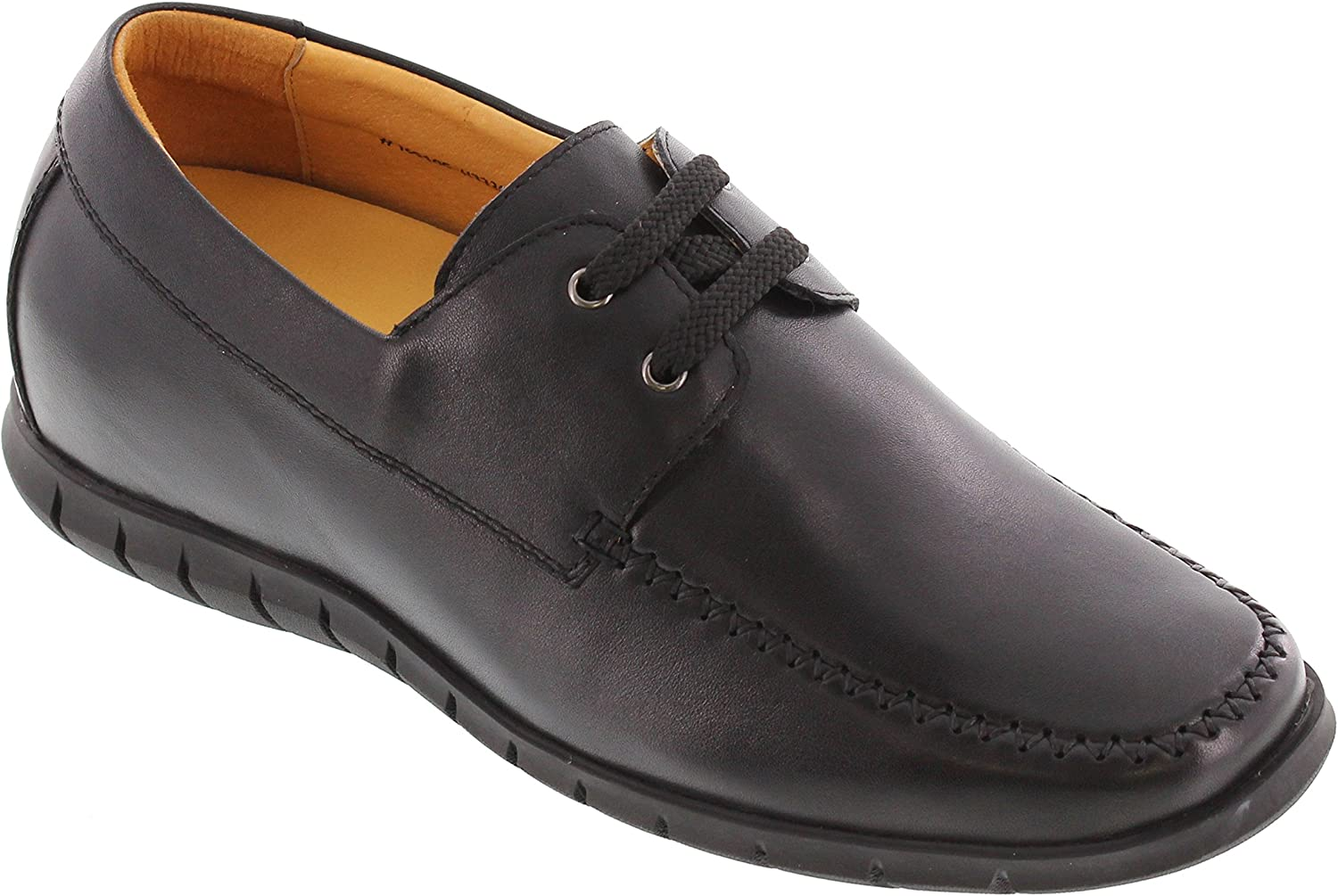 Toto Men's Invisible Height Increasing Elevator shoes - Black Leather Lace-up Super Lightweight Casual shoes - 2.6 Inches Taller - H33309