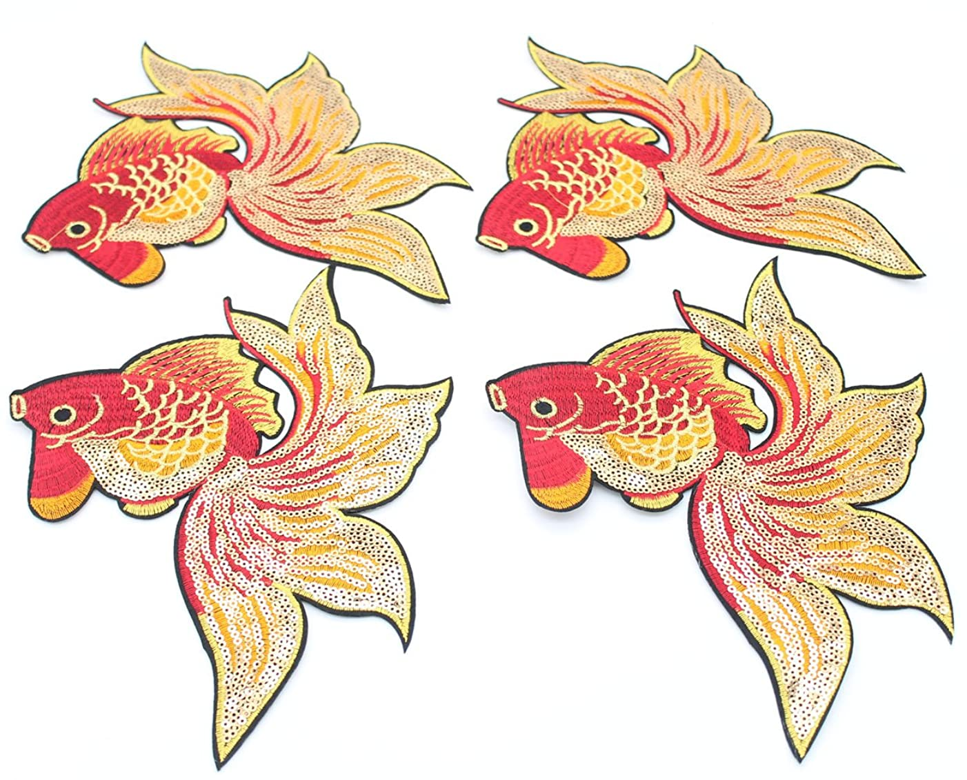 Applique Decoration DIY Design Shirt Jacket Embroidery 4 PCs Embroidered Iron-On Patch Applique by DIY Cloth Art Goldfish Pattern Decoration Ornaments Patches