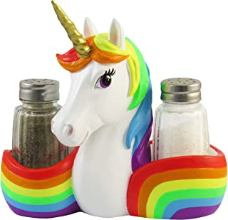 World of Wonders - Unity Series - Magically Delicious - Collectible Unity the Unicorn Magical Golden-Horned Rainbow Figurine Fantasy Themed Salt & Pepper Shaker Holder 3-Piece Set, 6-inch