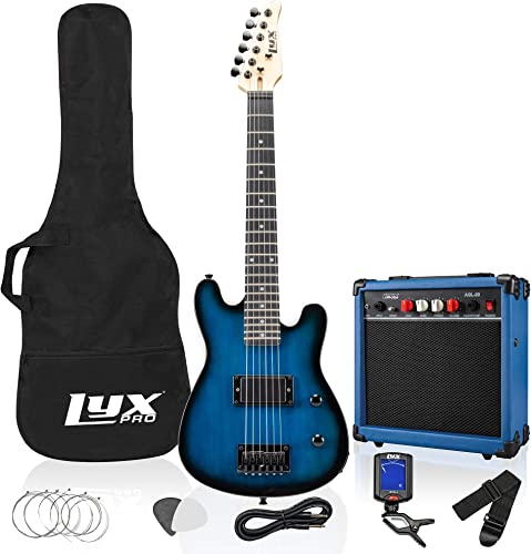 2021 LyxPro 30 Inch online Electric Guitar Starter Kit for Kids with 3/4 wholesale Size Beginner's Guitar, Amp, Six Strings, Two Picks, Shoulder Strap, Digital Clip On Tuner, Guitar Cable and Soft Case Gig Bag - Blue outlet online sale