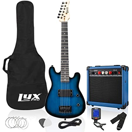 LyxPro 30 Inch Electric Guitar Starter Kit for Kids with 3/4 Size Beginner's Guitar, Amp, Six Strings, Two Picks, Shoulder Strap, Digital Clip On Tuner, Guitar Cable and Soft Case Gig Bag - Blue