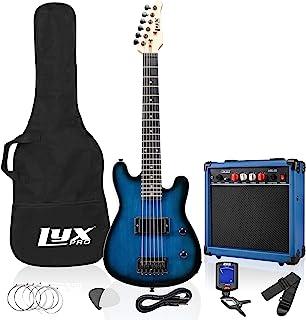 بسته لوازم جانبی گیتار برقی 30 اینچ LyxPro برای کودکان با گیتار مبتدی 3/4 اندازه ، آمپر ، شش سیم ، دو انتخاب ، بند شانه ، کلیپ دیجیتال بر روی تیونر ، کابل گیتار و کیف کیسه نرم کیف آبی