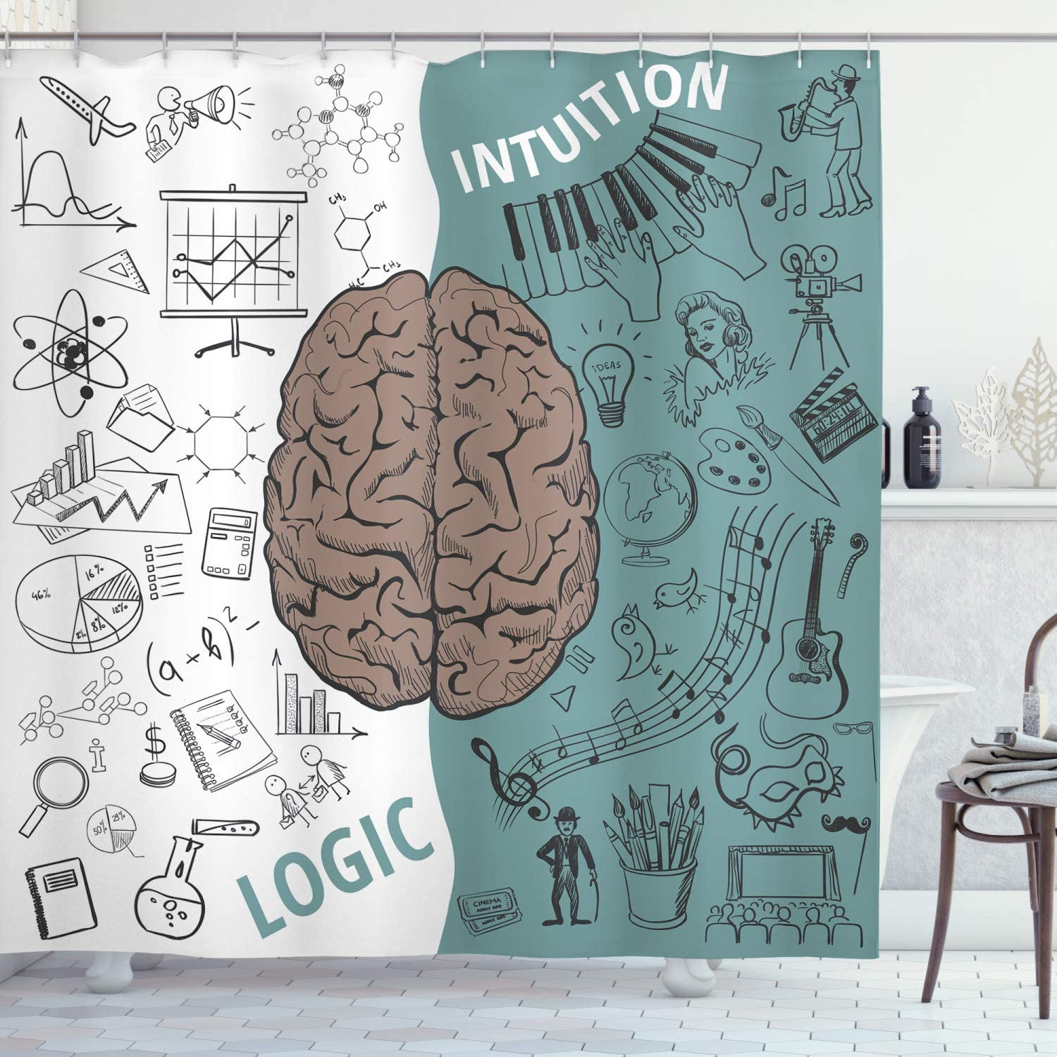 Ambesonne Max 58% OFF Modern Shower Curtain A Max 41% OFF Brain and Image with Left The