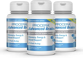 Procera Advanced Brain - 3-in-1 Nootropic Brain Supplement | Memory & Mood Support w/Energy Vitamins | Ashwagandha, Rhodiola, Ginseng, Ginkgo, Phosphatidylserine & Vitamin B Complex | 60 Capsules
