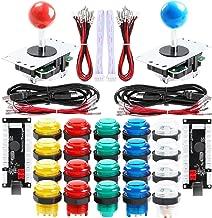 Qenker 2-Player LED Arcade DIY Kit for USB MAME PC Game DIY & Raspberry Pi Retro Controller DIY Including 2X Arcade Joystick, 20x LED Arcade Buttons, 2X Zero Delay USB Encoder (Mixed Color Kit)