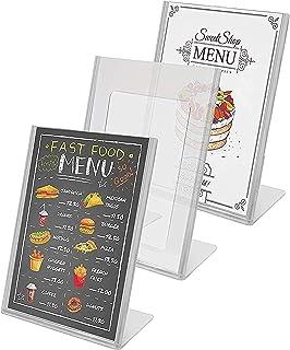 Acrylique Présentoirs de table (Lot de 3) -A4 Transparent Présentoir Documents Inclinés - Porte Affiche pour Menu, Carte d...