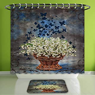 Waterproof Shower Curtain and Bath Rug Set Lilly of The Valley Floral Decor Butterfly Art Paintings Vintage Weave Basket Grunge Retro Deco Bath Curtain and Doormat Suit for Bathroom 60
