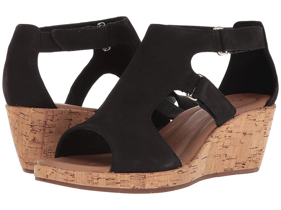 Clarks Un Plaza Strap (Black Nubuck) Women's Sandals