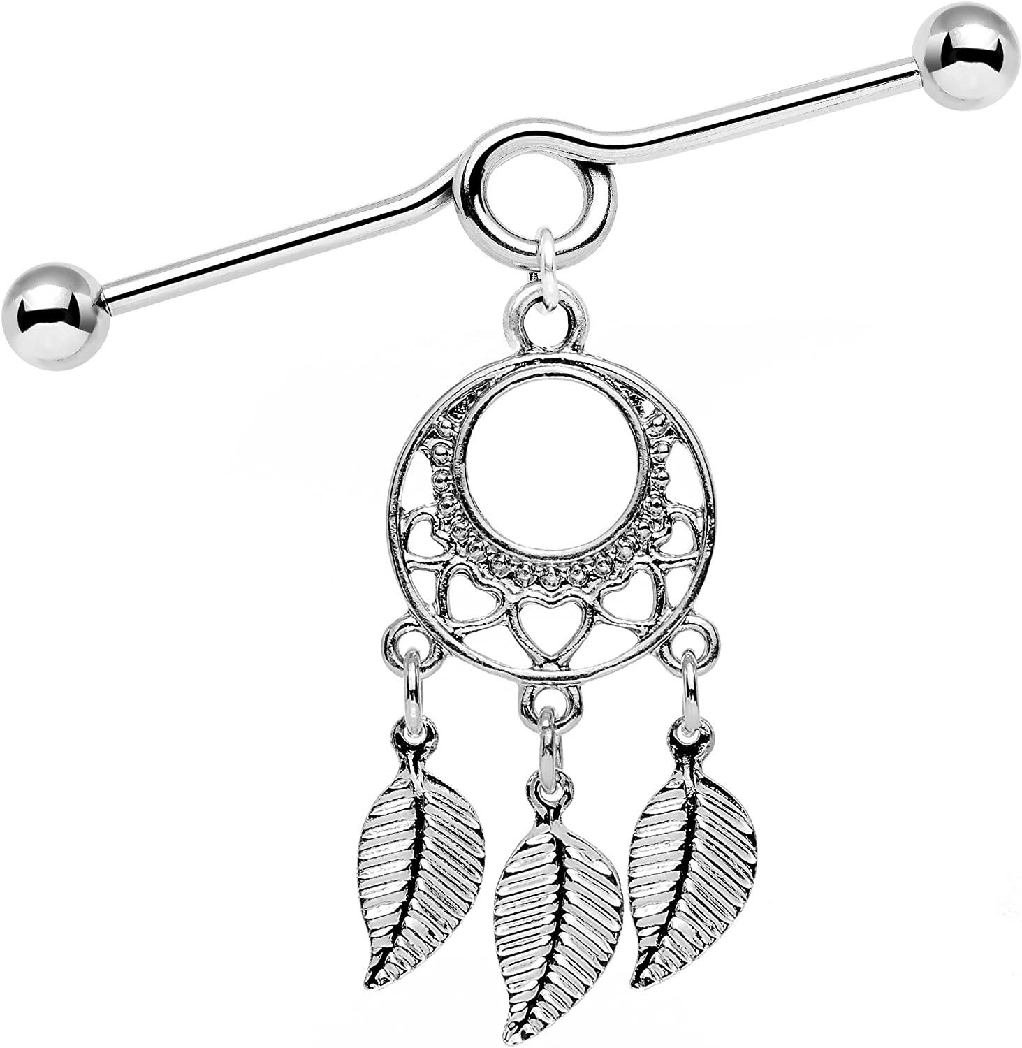 Body Candy Stainless Steel Natural Love Dreamcatcher Dangle Helix Earring Industrial Barbell 14 Gauge 39mm
