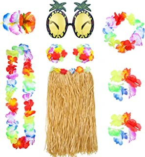 8 Pieces Hawaiian Hula Grass Skirt Set with Necklace Bracelets Headband Flower Bikini Top Hair Clip and Pineapple Sunglasses Party Decoration (Straw Color)