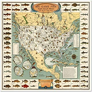 Antiguos Maps Pictoral MAP of The USA's Big Game Fish Circa 1936 - Measures 24