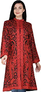 Exotic India Black and Red Kashmiri Long Jacket with All-Over Hand-Embroidered Paisleys