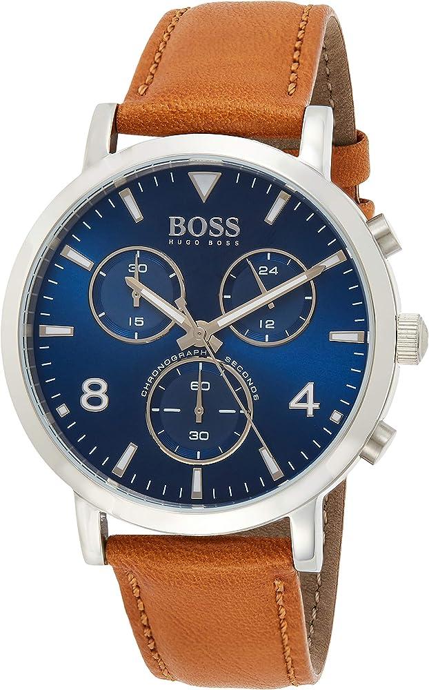 Hugo boss orologio cronografo uomo con cinturino in pelle 1513689