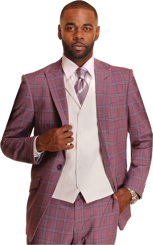 Mens Suit Classic Fit 3 Piece Max 40% OFF Plaid Arlington Mall Chec for Windowpane Men