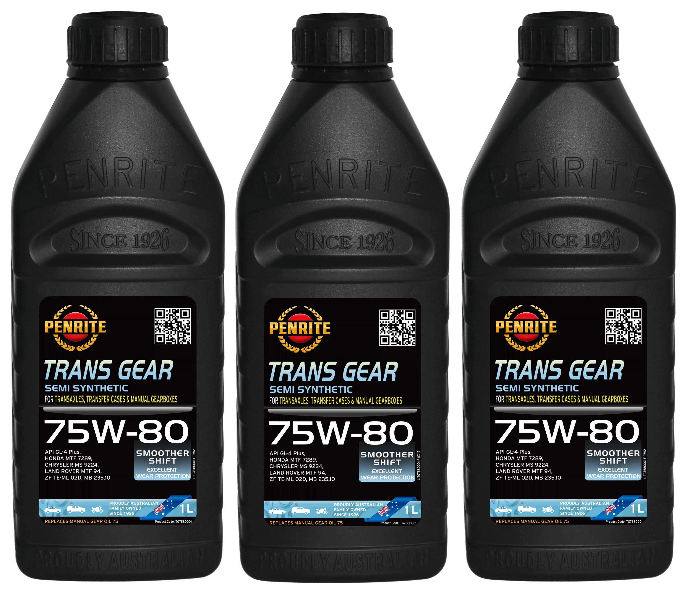 Penrite Trans Gear 75W-80 GL4 - Aceite de Engranaje semisintético MTF94, 235.10, 3 litros: Amazon.es: Coche y moto