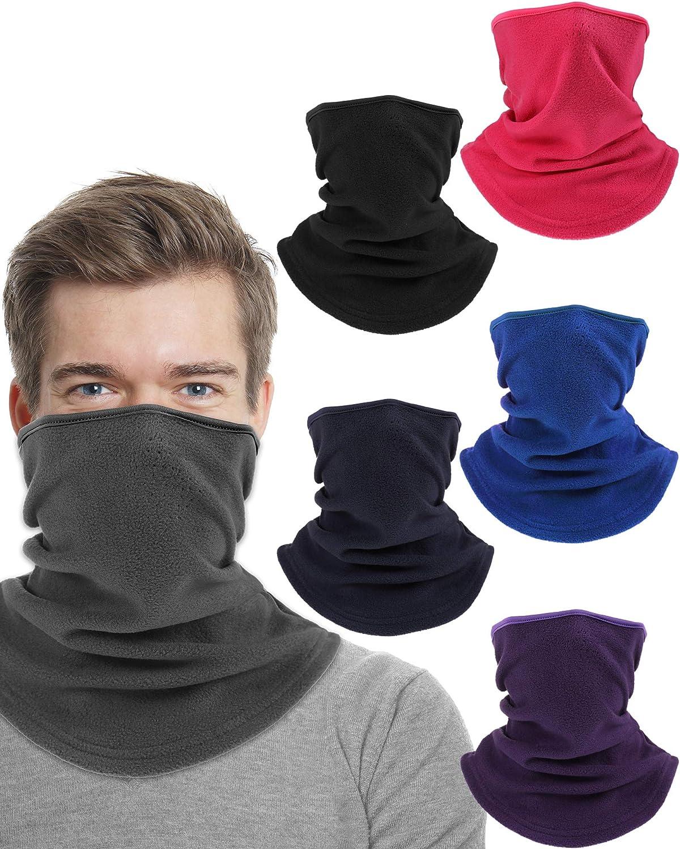 6 Pieces Winter Neck Gaiters, Breathable Neck Warmer, Cold Weather Half Balaclava, Windproof Fleece Face Warmer for Men Women Outdoor Activity
