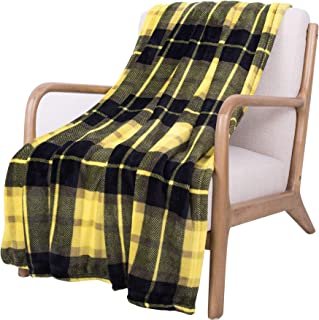 SOCHOW Flannel Fleece Blanket 60 × 80 Inches, All Season Plaid Yellow Blanket for Bed, Couch,Car