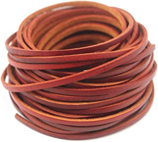Glory Qin 10 Yards Genuine Cow Hide Flat Leather Srip,Genuine Leather Cord Real Leather Craft for Jewelry Making LeatherRush (Distressed Brown, 3x2 mm)