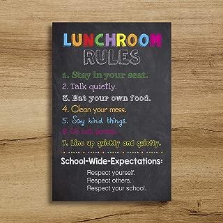 Rainbow Store Lunchroom Rules Cafeteria Custom School Teacher Sign Poster Lunch Room Classroom Chalkboard Chalk Subway Wall Art Gift