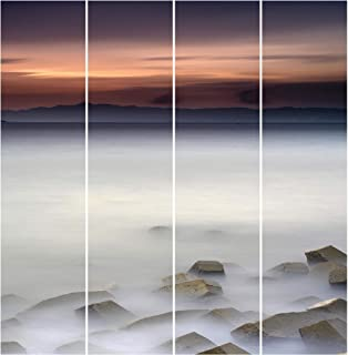 Bilderwelten Panel japonés Cortinas Riel Sunset In The Fog Set Montaje de Pared, 250 x 240cm