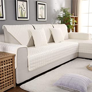 OstepDecor Flannel Furniture Protector and Couch Slipcover for Sofa, Loveseat, Recliner, Chair, Machine Washable, Slip Cover Throw for Pets, Dogs, Kids, White 43 x 94 Inches (110 x 240cm)