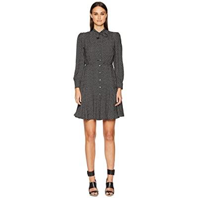 Rebecca Taylor Long Sleeve Sprinkle Dot Dress (Black) Women