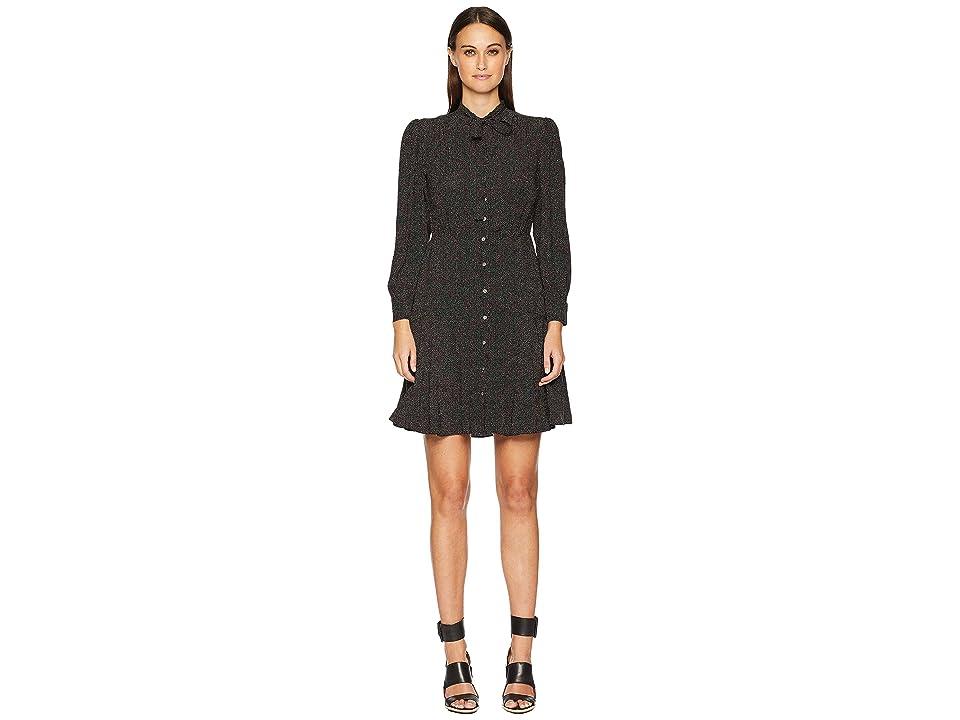 Rebecca Taylor Long Sleeve Sprinkle Dot Dress (Black) Women