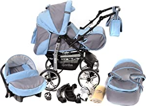 Kamil, Classic 3-in-1 Travel System with 4 STATIC (FIXED) WHEELS incl. Baby Pram, Car Seat, Pushchair & Accessories (3-in-1 Travel System, Pale Grey & Blue)