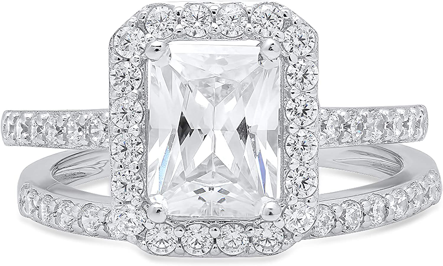 2.14ct Emerald Round Cut Pave Halo Solitaire with Accent VVS1 Ideal D Moissanite & Simulated Diamond Engagement Promise Designer Anniversary Wedding Bridal ring band set 14k White Gold