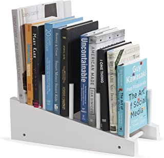 brightmaison Wooden Book Holder Decorative Free-Standing Bookend 4-Slot Magazine Mail File Rack Office Desktop Organizer Décor Display (White)