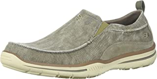 Skechers Men's Relaxed Fit Elected-Drigo Loafer, Taupe Canvas, 11.5 3E-Extra Wide