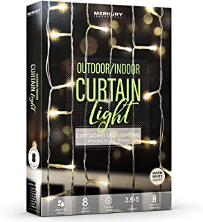 Merkury Innovations Cascading Weatherproof LED Window Curtain String Lights w 8 Light Modes, 6 Hour Timer, Battery Operate...