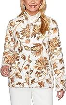 Alfred Dunner Women's First Frost Floral Print Zip-Up Fleece Jacket