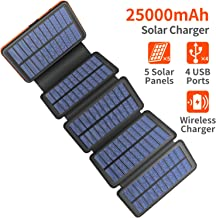 Solar Charger 25000mAh, 5 Solar Panel QI Wireless Outdoor Portable Power Bank - Waterproof Fast Charge External Battery Pack with Dual 2.1A Output USB for Cell Phones Tablet GoPro Camera