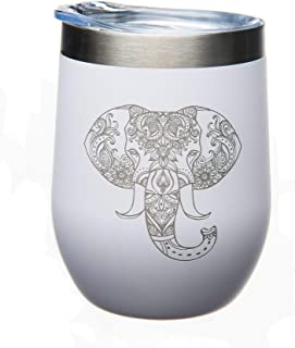 C M Elephant 12 oz. Double Insulated Stainless Steel Stemless Wine Glass with Lid-Laser Engraved- White Powder Coated Tumbler (white elephant)