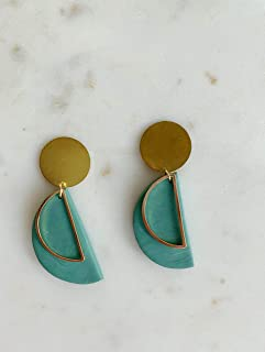 Green Clay and Brass Earrings/Modern Abstract Dangle earrings/Lightweight Dangle and drop Hypo-allergenic statement earrings/gift for her
