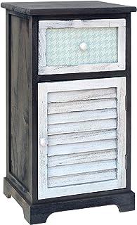 Mobili Rebecca Mesita de Noche Cajonera 1 Puerta 1 Cajon Madera Blanco Gris Marron Design Retro Decoración Dormitorio Pasi...