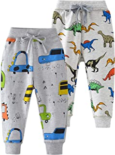 HUAER& Baby Boy Car Print Pants Drawstring Elastic Sweatpants