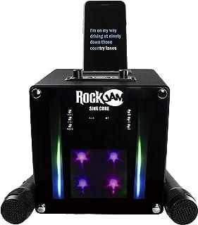 RockJam Singcube 5 W urządzenie do karaoke z Bluetooth, z dwoma mikrofonami, efekty zmiany głosu i diody LED