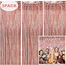 Tifeson 3 Pack Foil Fringe Curtains Backdrop Rose Gold Party Decoration, 3.2 ft x 6.5 ft Metallic Tinsel Curtain Party Photo Backdrop for Birthday Bachelorette Party Bridal Shower Baby Shower Decorations