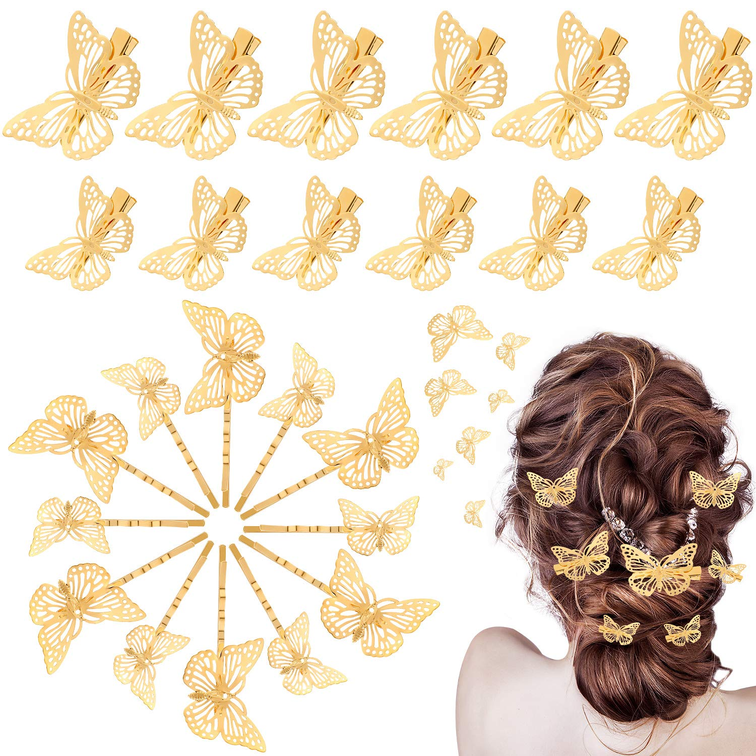 Max 44% OFF 24 Pieces Butterfly Popularity Hair Clips Metal Clamps