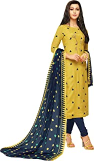 Rajnandini Women's Yellow chanderi silk Embroidered Semi-Stitched Salwar Suit Material With Printed Dupatta (Free Size)