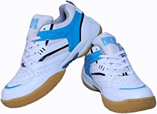 Firefly Men's Excel Badminton White Blue Badminton Sports Performance Shoes with Non Marking Sole