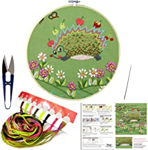 Full Set of Handmade Embroidery Starter Kit with Cute Animal Pattern Including Embroidery Cloth,Bamboo Embroidery Hoop, Color Threads, and Tools Kitfor Beginners (Hedgehog)